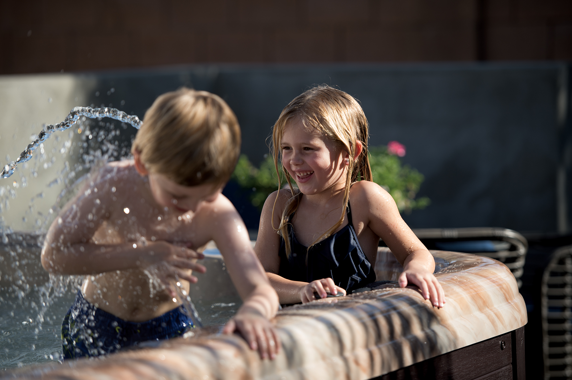 American Whirlpool Kids Playing with Fountain
