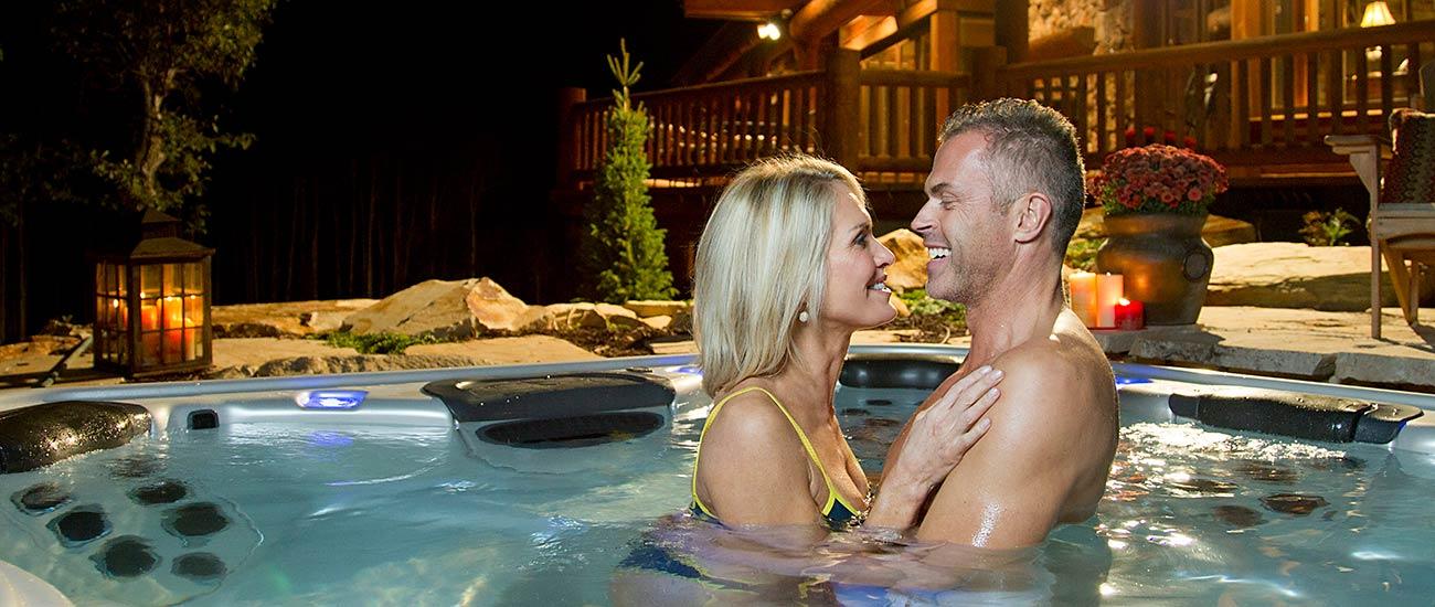 Bullfrog Spas Hot Tub Couple Evening Romance Fun